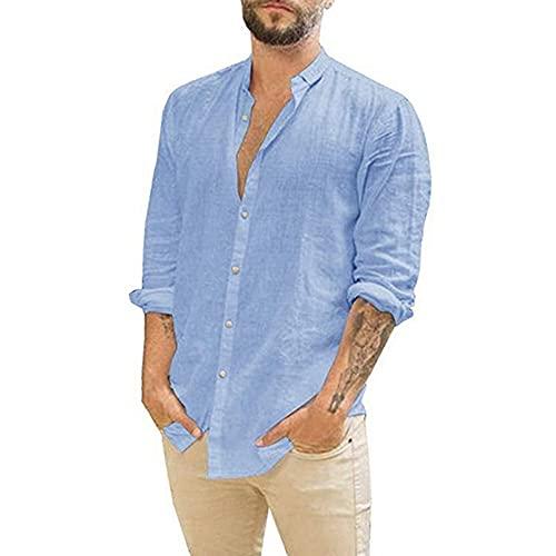 BAINA Camisas de Manga Corta para Hombre Tops Casuales de Lino de algodón Camisa Holgada de Verano Cómoda Camisa Liviana de Color sólido Cuello en V con Bolsillos M - 3XL