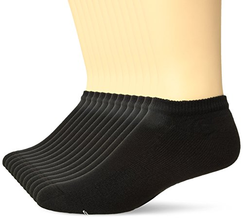 Hanes Men's Active Cool 12-Pack No Show Socks, black, Shoe Size: 6-12