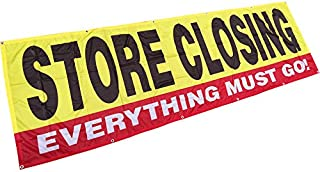 4Less 3x10 Ft Store Closing Everything Must GO Banner Vinyl Alternative Store Sign - Fabric yb