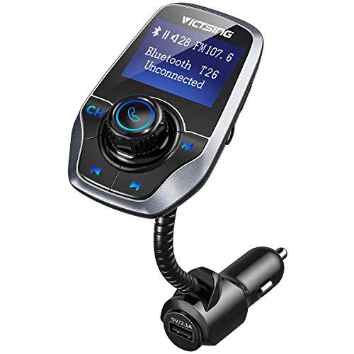 "VICTSING Manos Libres Bluetooth Coche Transmisor FM, Radio Musica Receptor Altavoz Bluetooth FM, Reproductor de MP3 Transmitter, 1.44"" LCD, 5V/2.1A USB, Tarjeta del TF-Gris"