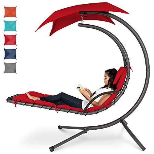 Best Choice Products Hanging Curved Chaise Lounge Chair Swing for Backyard, Patio w/Pillow, Canopy, Stand - Red