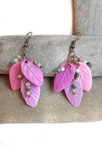 Pendientes Hojas RACIMO Rosa y lila hechos a mano con arcilla polimerica