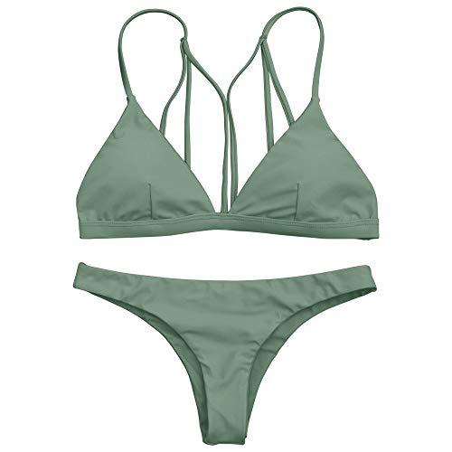 ZAFUL Damen Sexy Tanga Bikini Set Grün L