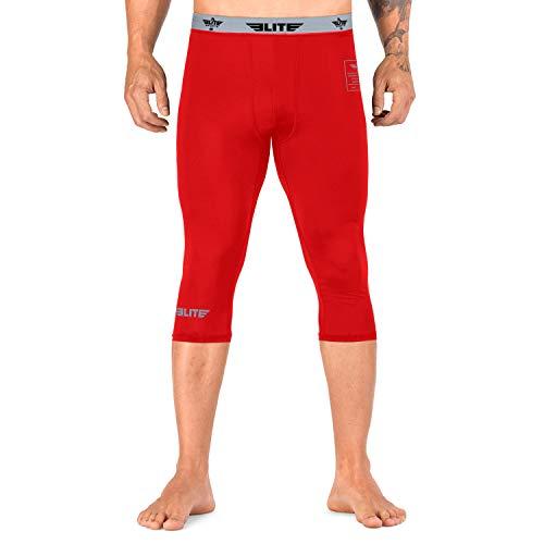 Elite Sports BJJ Jiu Jitsu MMA No-Gi Spats for Men 3/4 Best BJJ Tights Jiu Jitsu Leggings Compression Pants (Red, Large)