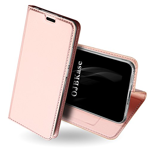 OJBKase Redmi S2 Hülle, Premium Slim PU Leder Handy Schutzhülle [Standfunktion] Hülle/Cover/Brieftasche/Ledertasche Bookstyle Tasche Lederhülle Handyhülle für Xiaomi Redmi S2 (Roségold)