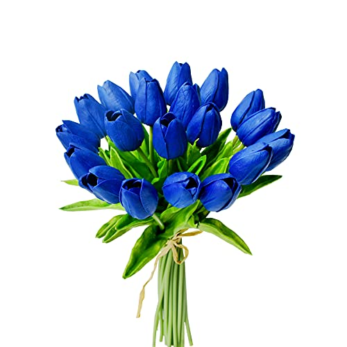 """Mandy's 20pcs Royal Blue Artificial Tulip Silk Flowers 13.5"""" for Home Kitchen Wedding Decorations"""