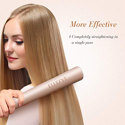 Hair Straightener,ElleSye Ceramic Flat Iron for Hair with Dual Voltage & Salon High Heat 450,Rounded Hair straightener and Curler with Negative Ion for Protecting Hair