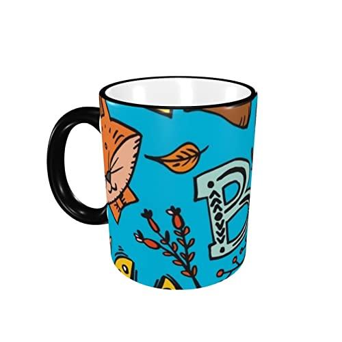 Taza de café con diseño de animales del alfabeto con forma de frontera, taza de cerámica con mango para té, taza de café, taza de café, taza de café, regalo para hombres y mujeres, trabajo de oficina