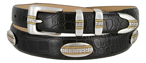 St. Andrews Gold – Genuine Italian Calfskin Leather Golf Dress Belt with Conchos