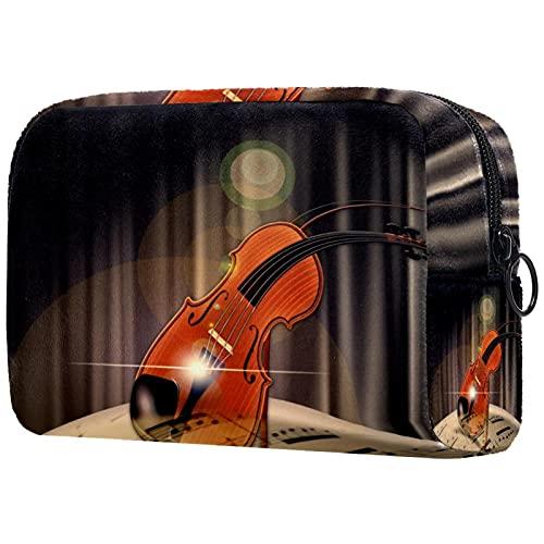 Bolsa de embalaje de viaje pequeña bolsa de maquillaje neceser bolsa de cosméticos impermeable con cremallera bolsa de cosméticos organizador de accesorios para mujeres música violín