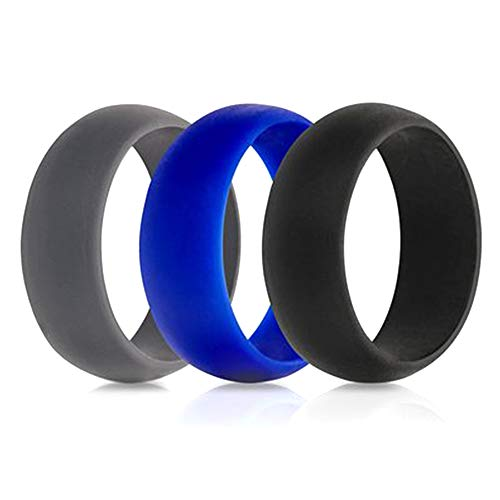 NA LOVEYORL 3PCS Men's Silicone 8mm Wedding Ring, Simple Atmospheric Electronic Cigarette Silicone Ring Rubber Ring, Also Breathable, Suitable for Athlete's Individual Silicone Ring (Style 3,6)