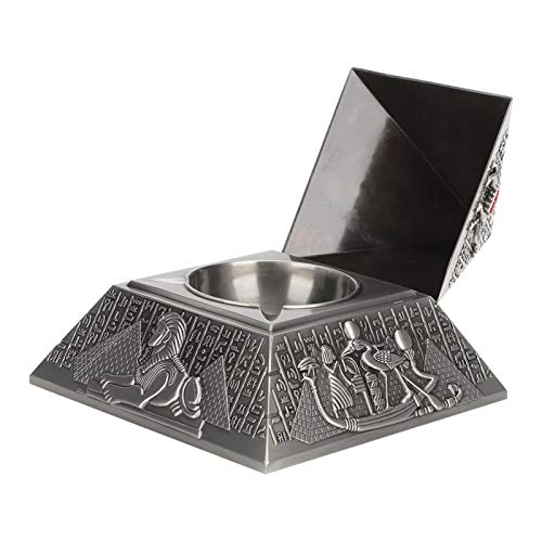 banapoy Cenicero, cenicero de Escritorio de la pirámide, Metal Decorativo del Estilo Egipcio para el Regalo Que Fuma(Ancient Tin)