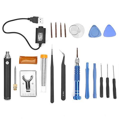 Juego de soldador con carga USB, portátil, inalámbrico, eléctrico, para soldar, pluma, herramienta de soldadura, plata, negro, rojo (opcional)(negro)