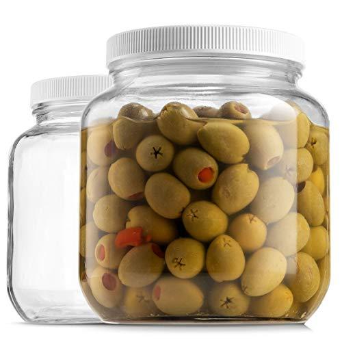 Half Gallon Glass Mason Jar (64 Oz) Wide Mouth with Plastic Airtight Lid - USDA Approved BPA-Free Dishwasher Safe Canning Jar for Fermenting, Sun Tea, Kombucha, Dry Food Storage, Clear (2 Pack)