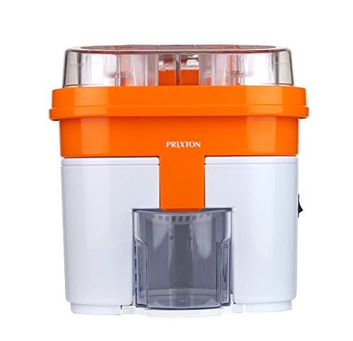 PRIXTON - Elektrische Saftpresse für Säfte, automatische Saftpresse mit Doppelköpfen und integriertem Cutter, 90 W Leistung und 0,5 l Fassungsvermögen, Farbe Weiß und Orange | XP3