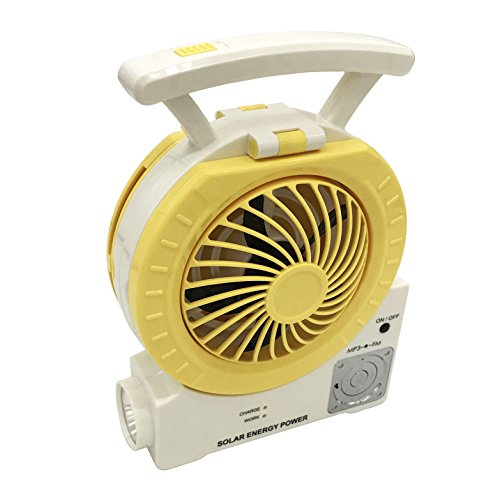 DHD Multi-Function Solar Fan Electric Outdoor Fishing Fan with Radio/MP3/Table Lamp/Torch/Cell Phone Charging Function for Camping Fishing and Hurricane Emergency (Yellow)