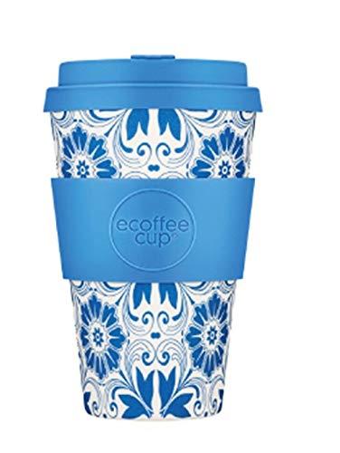 Ecoffee Cup kaffeebecher Delft Touch 400 ml Bambus hellblau