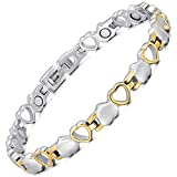 Rainso Titanium Heart Design Magnetic Health Therapy Bracelets for Women Pain Relief