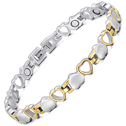 Rainso Pure Titanium Magnetic Health Therapy Bracelets for Women Pain Relief for Arthritis Love Heart Design with Gift Box Adjustable