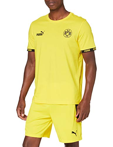 PUMA BVB Ftblculture tee Camiseta, Hombre, Cyber Yellow, S