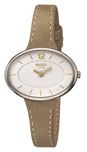 Boccia Damen Analog Quarz Uhr mit Leder Armband 3261-02
