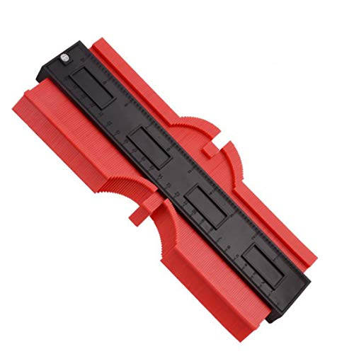 Plastic Contour Gauge 10 Inch Irregular Profile Outline Gauge Duplicator Standard Wood Marking Tool Tiling Laminate Tiles Edge Shaping Measure Ruler (Red)