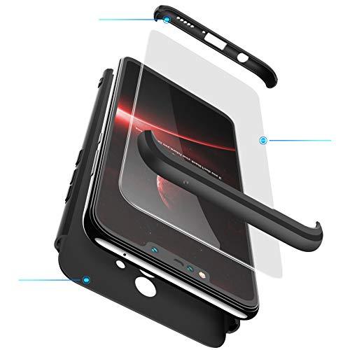 Ququcheng Kompatibel mit Huawei Mate 9 Hülle,3 in 1 Ultra dünn Hard Hülle Schutzhülle+Panzerglas Schutzfolie 360 Grad Schutz Tasche Shell Cover Handyhülle für Huawei Mate 9-Schwarz