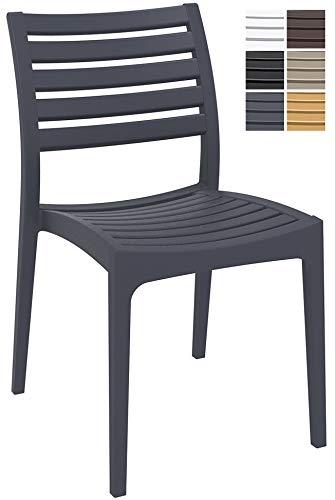 CLP Gartenstuhl ARES aus Kunststoff l Küchenstuhl belastbar bis 160 kg l Wasserabweisender, UV-beständiger Stapelstuhl Dunkelgrau