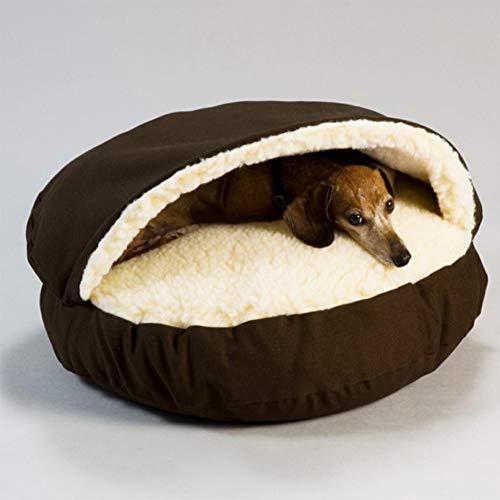 LFONCE Cama de perro con funda extraíble suave felpa, cojín con cómoda esponja antideslizante para mascotas pequeñas y medianas que duermen otoño invierno interior (café)