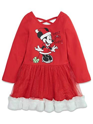 Disney Minnie Mouse Christmas Santa Toddler Girls Long Sleeve Dress Cross Back 2T