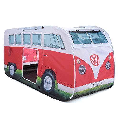 Board Masters Volkswagen VW-Bulli-Wurfzelt und Pop-Up Zelt für Kinder, UPF50+, Camping- und Spielzelt für Mädchen und Jungen, Rot