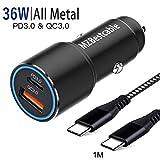 36W Caricabatterie Caricatore Auto USB C PD3.0+QC3.0 per Samsung S10 S20 Plus Ultra S9 S8,A71 A70 A51 A50 A80 A41 A31 A80,Note 20 10 9 8,Huawei P30 Lite,Pixel 3A,Ricarica Rapida/Carica Veloce+1M Cavo