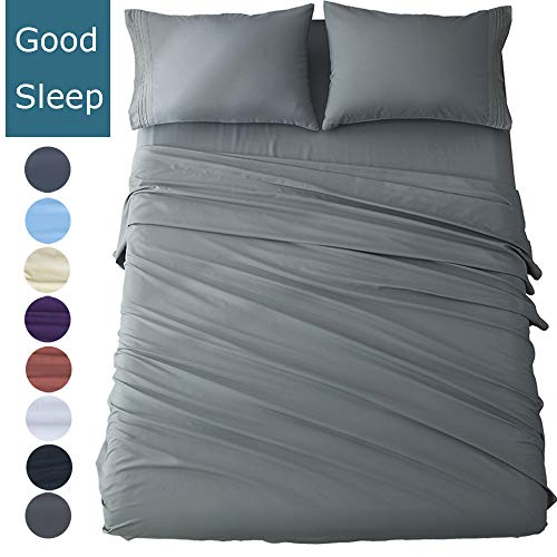 Shilucheng Full Size Bed Sheets Set Microfiber 1800 Thread Count Percale Super Soft and Comforterble 16 Inch Deep Pockets Wrinkle Fade and Hypoallergenic - 4 Piece (Full, Dark Grey)