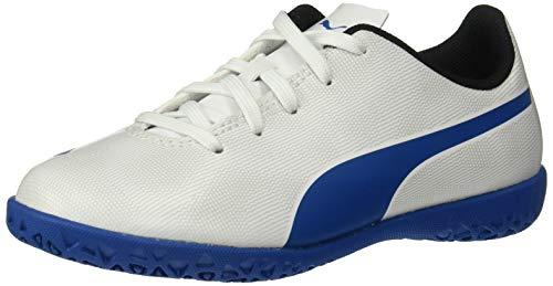PUMA Unisex-Child Rapido Indoor Trainer Soccer Shoe, White-Royal Blue-Light Gray, 3 M US Little Kid