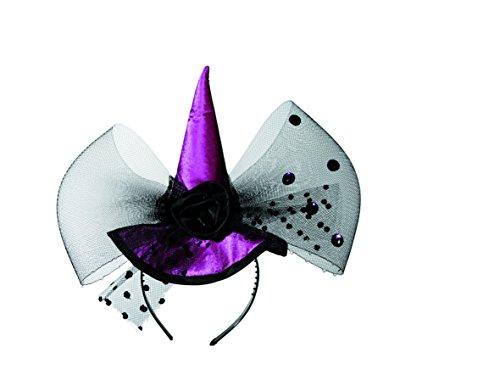 Out of the blue- Cerchietto Halloween per Capelli in Plastica Color Lilla, Cappello con Velo Nero e Rosa, 12x30 cm, Multicolore, Taglia Unica, 190100