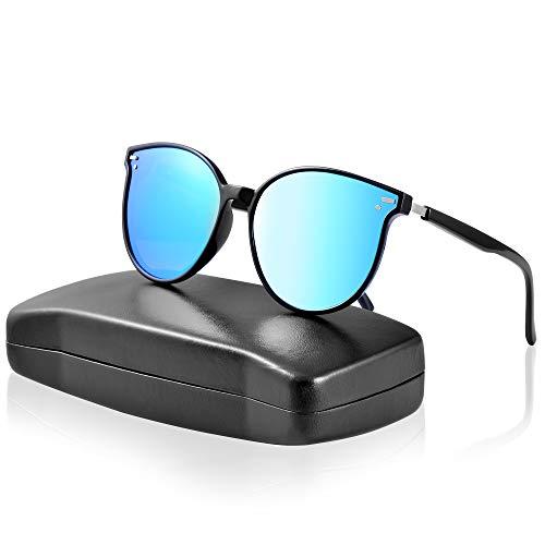 ipow Polarisierte Retro Vintage Katzenauge Sonnenbrille für Damen Herren verspiegelt 400 UV Sonnenschutz-Blau