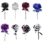 panonw artificial rose 3pcs silk rose flower artificial roses with long stems for home wedding decor, centerpieces birthday flowers party garden floral arrangement red/black/white