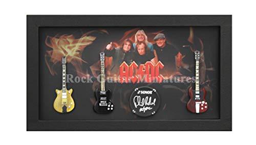 Unbekannt RGM9000 Angus Young ACDC Miniatur-Gitarren-Kollektion im Shadowbox-Rahmen
