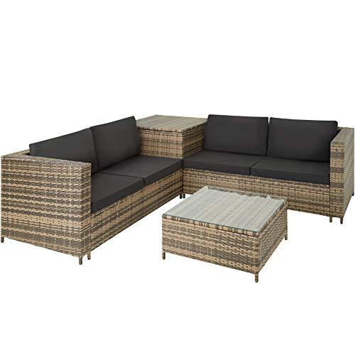 TecTake 800678 Conjunto de Muebles de Jardín de Ratán, 2 Sofás 1 Mesa 1 Caja de Almacenamiento, Incluye Tornillos de Acero Inoxidable (Natural | No. 403723)
