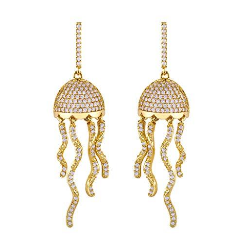 MYhose Pendientes de Medusa ondulados de Tel Largo Dorado Exquisito circonita cúbica Pendientes Colgantes de decoración Cadena de Oro