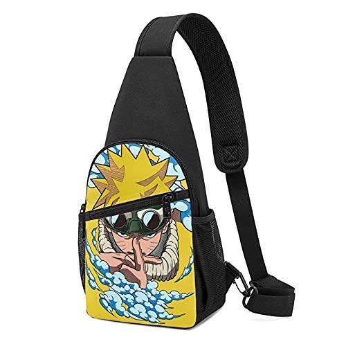 Naruto Anime Sling Bag Pequeño Pecho Bolso Hombro Cintura Messenger Mochila Viaje al Aire Libre Montañismo Paquete