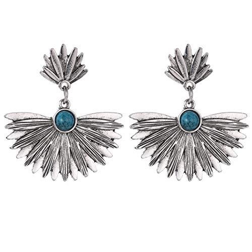 Ruby569y Pendientes colgantes para mujer y niña, diseño vintage con incrustaciones de turquesa de imitación de metal con forma de abanico para mujer, joyería de plata envejecida