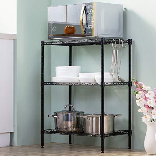 Ophihdlhd Estante de almacenamiento de 3 niveles de acero al carbono para cocina, baño, estante de almacenamiento de flores, Negro clásico.