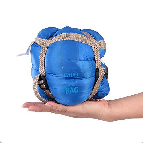 Sac de couchage de camping pour adultes 190 x 75 cm Sac de voyage ultra léger Printemps Automne bleu
