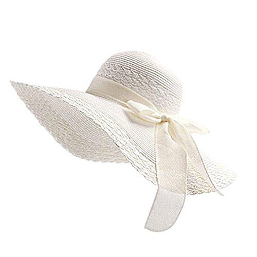 Drawihi Damen Sonnenhut Sommerhut UV-Schutz Hüte Wide Rand Strandhut Mützen Strohhut (Weiß) 56-58 cm