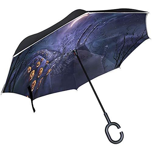 Elxf Umgekehrter Regenschirm Halloween Kürbiszaun Abstrakte Malerei Doppelschicht-Umkehrregenschirm, winddichter UV-Schutz Großer gerader Regenschirm