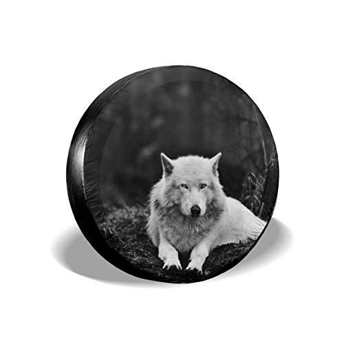 Wolf Wall Decor Forest Lone Wolf Cubierta de neumático de repuesto A prueba de sol Elástico Durable Cubierta de neumático impresa Almacenamiento para caravana Accesorios de remolque de viaje