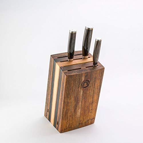 exklusiver, von handgefertigter Messerblock aus Alten Fassdauben + 3 Kai Shun Premier Damastmesser Tim Mälzer Serie Japanische Profimesser (Variante D)