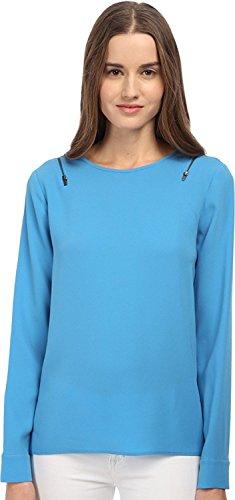 Tibi Women's Long Sleeve Zipper Details Top (8) Blue