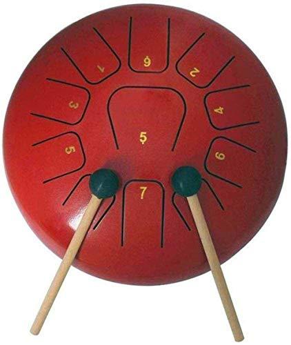 WJSWD Los Tambores de Acero 10 Pulgadas de Acero 11 Tono de lengüeta del Tambor, con el Tambor de mazos/Dedo de la Manga/Etiqueta/Tutorial/Bolsa, Yoga Meditación Musicoterapia, Rojo para Adultos prá